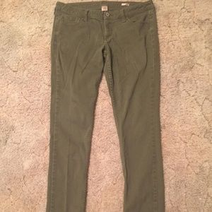 Green Mid Rise Skinny Jeans